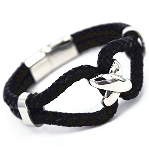 Epinki Womens Mens 316L Stainless Steel Double Row Cross Braided Leather with Charms Clasp Black Bracelet