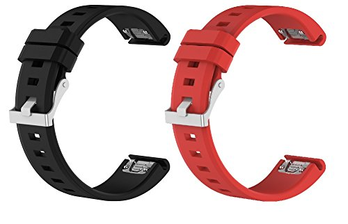 [New] Replacement Quick Release 22mm Width Silicone Straps w/Silver Buckle 47mm for Garmin Fenix5/Fenix 5 Sapphire/Forerunner 935/Quatix 5/Approach S60 Smart Watch (Black&Red)
