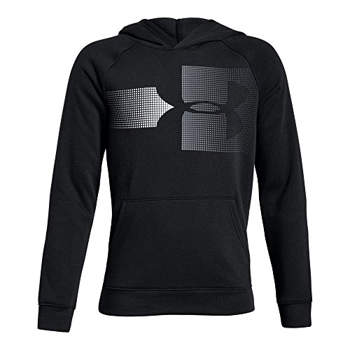 Under Armour Boys Rival Logo Hoodie, Black (001)/Steel, Youth Small ()