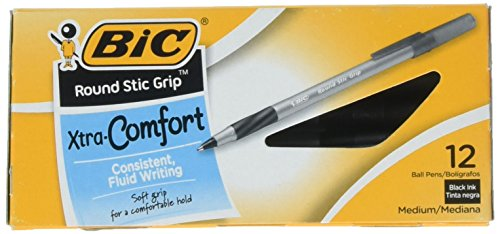 BIC Products - BIC - Ultra Round Stic Grip Ballpoint Stick Pen, Black Ink, Medium, Dozen - Sold As 1 Dozen - Feather-light, ultra-smooth ballpoint pen. - Features BIC's exclusive ink system technology, Easy Glide Feel the Smoothness.TM - Contoured rubber grip. - Frosted, translucent barrel. - Long-lasting: more than 4,300 feet of writing in each pen.
