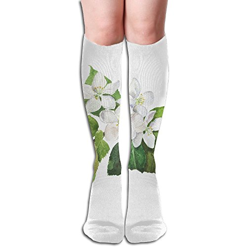 FYW Branch Of Apple Or Pear Tree With Green Leaves And White Flowers Hand Drawn Watercolor Mens & Womens Knee High Socks For Varicose Veins Blood Circulation (White Cross Pear)