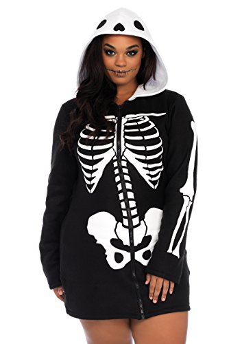 Leg Avenue Women's Plus Size Cozy Skeleton, Black/White, (Women's Size 24 Halloween Costumes)