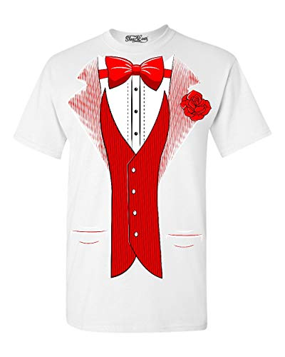 Shop4Ever Classic Tuxedo T-Shirt Party Costume Shirts Small White 0 -