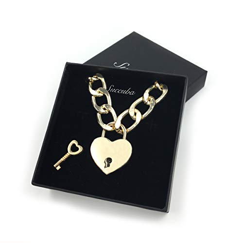 Intimate Lover Heart Chain Necklace Collar Heart Padlock Choker for Men and Women (Gold, 20)