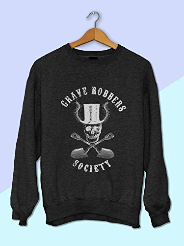 Grave Robbers Society Skull with Top Hat Sweatshirt for Women - Halloween Sweatshirt for Women - Creepy Sweatshirt - Womens Sweatshirt Pullover - Pastel Goth Clothing - Goth Clothing for -