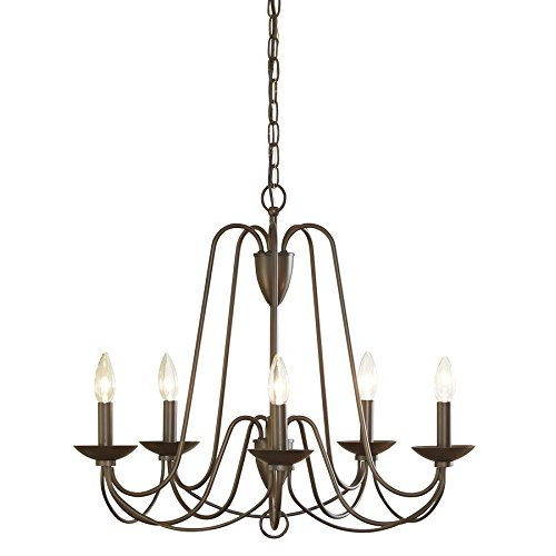 Candlestick 5 Chandelier Light (Wintonburg 5-Light Aged Bronze Williamsburg Candle Chandelier 24.25-in)