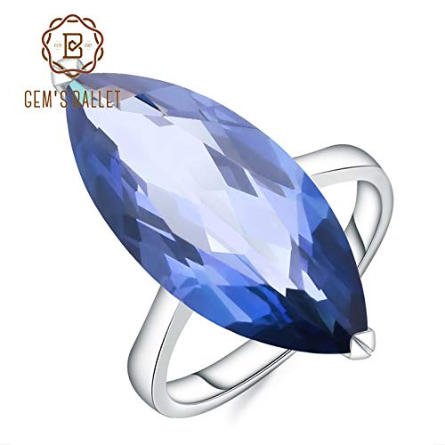 - Big Oval Marquise Natural Blue Mystic Quartz Gemstone Ring | 925 Sterling Silver Rings | Fine Jewelry (11.45ct)