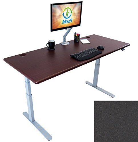 "LANDER Electric Adjustable Height Sit Stand Desk, Silver Base (Shark Gray Top, 30"" x 59"")"