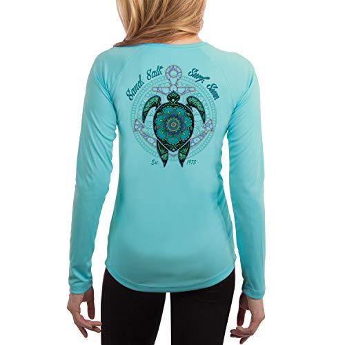 SAND.SALT.SURF.SUN. Mandala Turtle Women's UPF 50+ Long Sleeve T-Shirt Large Water Blue