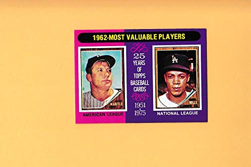 1975 Topps Mini #200 1962 's Mickey Mantle/Maury Wills MVP NM Near Mint New York Yankees/Los Angeles Dodgers