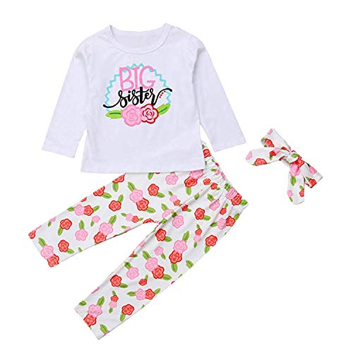 3PCS Baby Gril Sister Clothes Flower Letter Printed Romper Newborn Long Sleeve Top + Toddler Pants + Headband Hat Outfits Set (120(4Y), Big Sister) ()