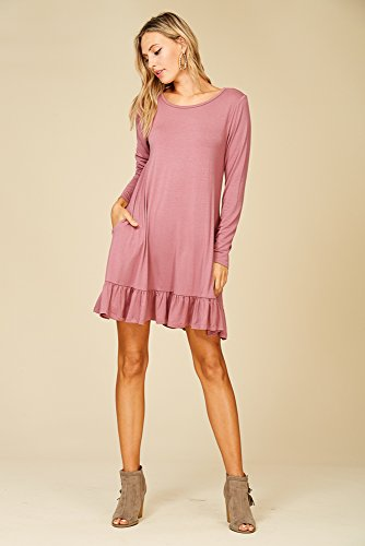 Pocket Neck Mauve Sleeve Ruffle Dresses Hem Ash Annabelle Long Womens Round aqwZxwp0E