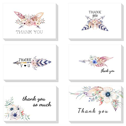 - 48 Count Feathers Flowers Thank You Cards Bulk Greeting Cards 6x4 Card Blank Inside Note Cards with Envelopes for All Occasions Women Wife Wedding Bridal Shower Anniversary Business Holiday