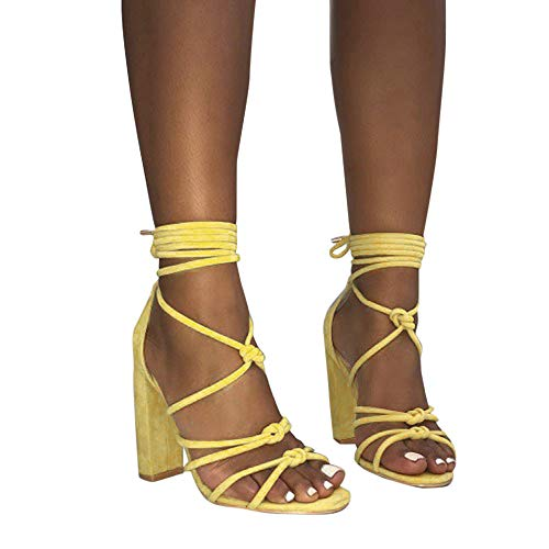 (COOlCCI_2019 NEW ARRIVAL Womens Jute-Rope Middle Wedge Heel Summer Shoes Flip Sandals Lace Up Yellow)