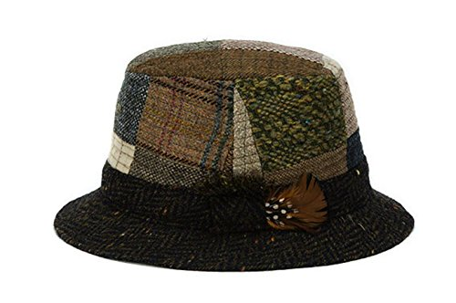 c915cf2dbc7aa Hanna Hats Men s Donegal Tweed Original Irish Walking Hat Toning Patchwork  Large