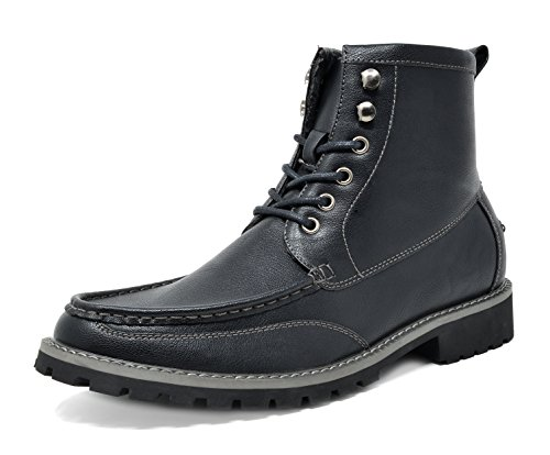 Bruno Marc Men's Stone-05 Black Motorcycle Combat Dress Oxford Boots Size 10.5 M US