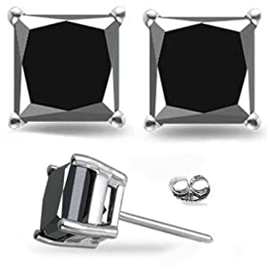 1 Carat Total Weight Black Princess Diamond Solitaire Stud Earrings Pair set in 14K White Gold Popular Value Collection