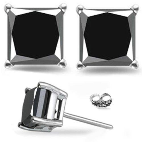 2 Carat Total Weight Black Princess Diamond Solitaire Stud Earrings Pair set in 14K White Gold Popular Value Collection