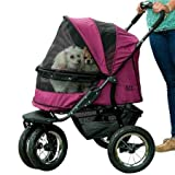Image of Pet Gear NO-ZIP Double Pet Stroller, Zipperless Entry, for Single or Multiple Dogs/Cats, Plush Pad + Weather Cover Included, Large Air Tires, Boysenberry