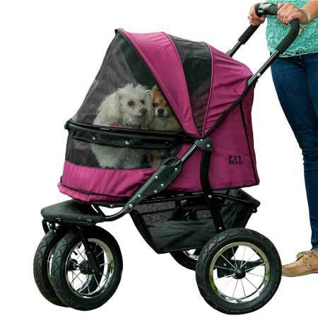 Pet Gear NO-ZIP Double Pet Stroller, Zipperless Entry, for Single or Multiple Dogs/Cats, Plush Pad +...