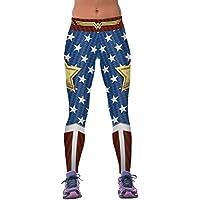 COCOLEGGINGS  Womens 3d impresión digital Active Yoga Capri Leggings con diseños