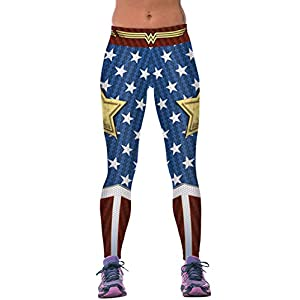 COCOLEGGINGS Womens 3D Digital Print Active Yoga Capri Leggings with Designs
