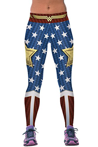 COCOLEGGINGS Women's Stars Printed Footless Elastic Sexy Tights Leggings Pants One (Original Wonder Woman Halloween Costume)