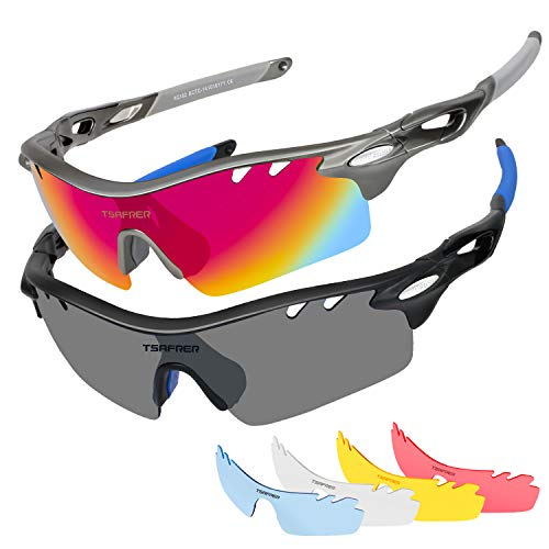 Polarized Sunglasses 2 Pack Sports Sunglasses for Men Women Interchangeable Lens (Gray Black Red/Black ()