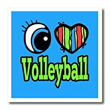 ht_106680_2 Dooni Designs Eye Heart I Love Designs - Bright Eye Heart I Love Volleyball - Iron on Heat Transfers - 6x6 Iron on Heat Transfer for White Material