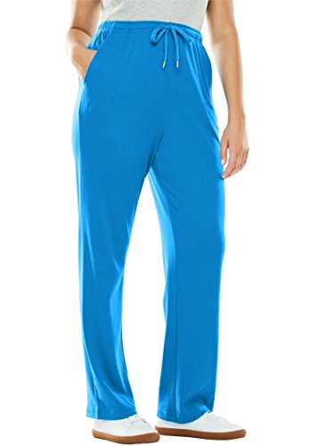 Woman Within Women's Plus Size Sport Knit Drawstring Elastic Waist Sweat Pants