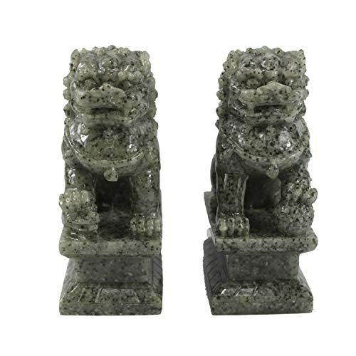 (Asian Zing Granite Resin Fu Dog Set)