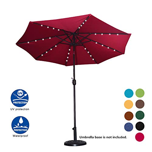 Sundale Outdoor Solar Powered 32 LED Lighted Patio Umbrella Table Market Umbrella with Crank and Push Button Tilt for Garden, Deck, Backyard, Pool, 8 Steel Ribs, 9 Feet (Burgundy)
