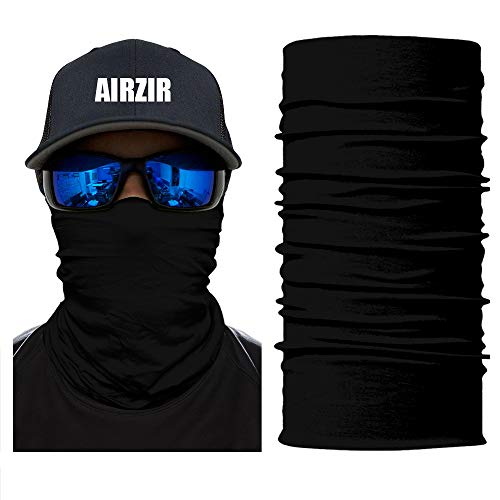 Airzir Black Face Mask Premium Breathable Seamless Tube Motorcycle Face Mask Wind Dust UV Protection Moisture Wicking Microfiber Face Mask for Motorcycle Riding Cycling Hiking Climbing (Face-466)]()