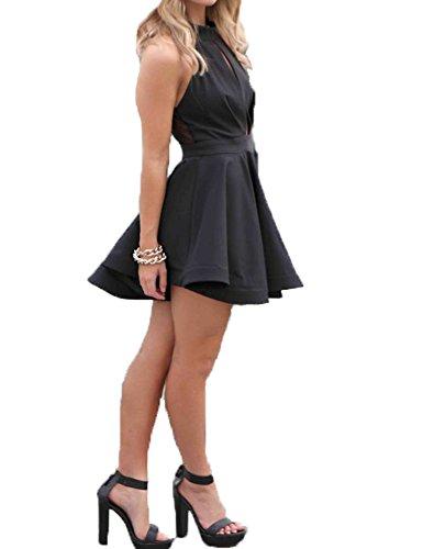 Dress line Pleated Cocktail Hollow Mini Halter Black Neck A Swing Sleeveless Dress Women's Yv0wqR1q