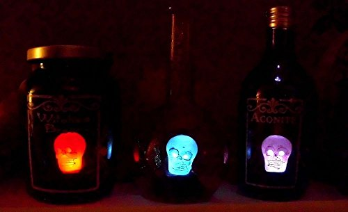 SET 3 Light Up WITCH SPELL HALLOWEEN POTION SKULL SPIDER BOTTLE SKULL LED WITCHES BREW -
