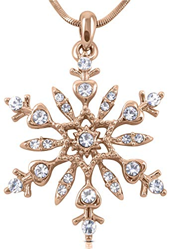 - Crystal Snowflake Pendant Necklace Winter Bridal Fashion Christmas Holiday Jewelry Gifts for Girls, Teens, Women (Rose Gold Tone1)
