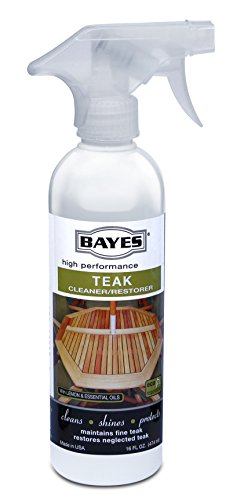 Bayes High Performance Teak Cleaner & Restorer - Cleans, Shines, and Protects - Maintains Fine Teak and Restores Neglected Teak - 16 oz, 2 Pack (Table Teak Restore)