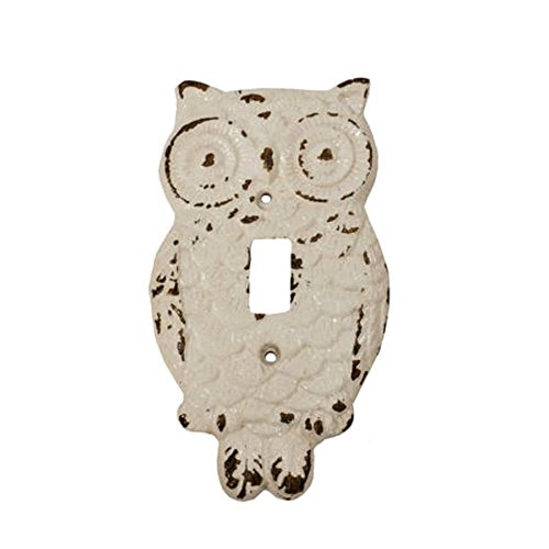 Gloss White Cast Iron Hoot OWL Single Switch Cover Plate (Owl Plate Small)