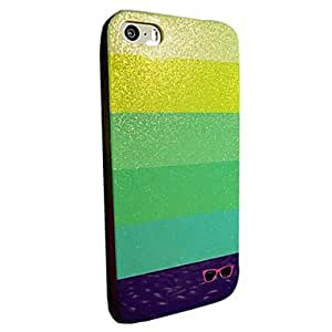 QJM Flash Powder TPU Color Stripes Soft Back Case for iPhone 5/5S