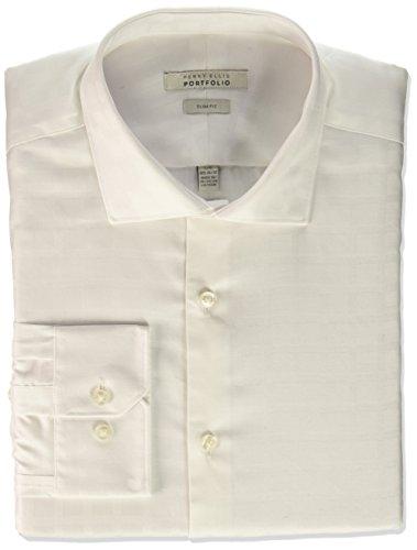 Perry Ellis Men's Slim Fit Performance Windowpane Dress Shirt, White, 15.5