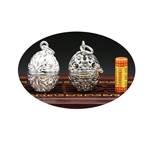 Epinki 925 Sterling Silver Women Men Necklace Plum Blossom Hollow Plum Box Pendant Buddhism Silver-A114 by Epinki