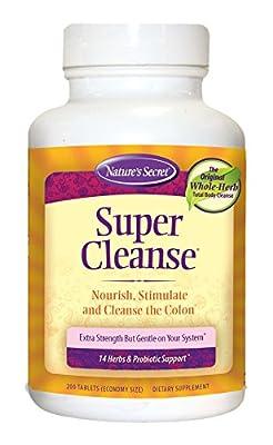Nature's Secret Super Cleanse Herbal Supplement Tablets, 200 Count