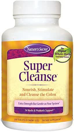 Nature's Secret Super Cleanse Herbal and Probiotic Support, 200 Tablets (Pack of 2)