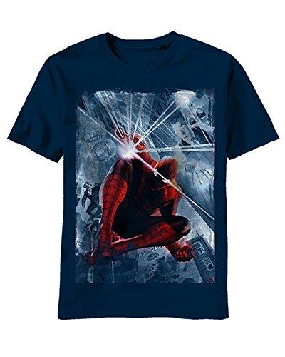 - Marvel The Amazing Spider-Man Limited 75th Ann Alex Ross Art T-Shirt Navy Blue
