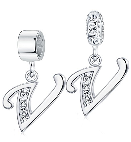 Milacolato A-Z Initial Spacer Alphabet Letter Beads Crystal Dangle Charms For Snake Chain Bracelets V