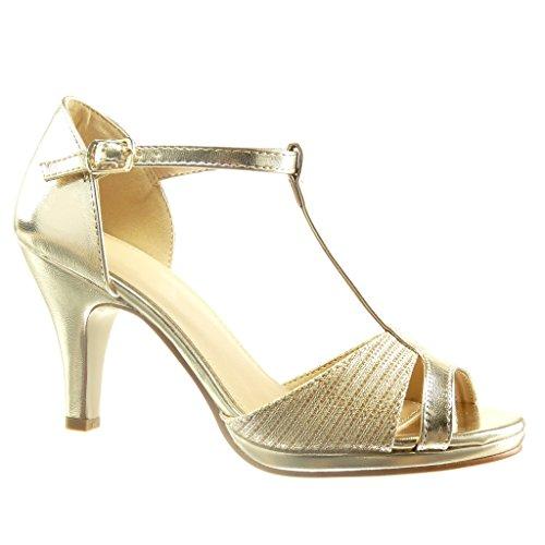 Angkorly - Scarpe da Moda scarpe decollete sandali cinturino sexy donna lines Tacco a blocco tacco alto 8.5 CM - Oro