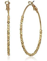 Beaded Leverback Hoop Earrings, Gold, 1.5