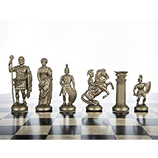 """Plastic Chess Pieces RomanLegion 3 3/4"""", 9,6 cm Black & Gold - Weighted, Felted"""