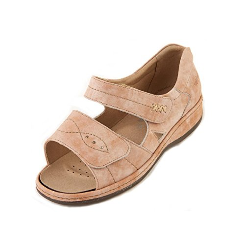 Sandpiper Women's Sandal 'Cilla' | Extra Wide Fit 6E | Extra Long Twin Touch Fastening | Leather Lining | Back-In Heel Rose Mist qTn4y