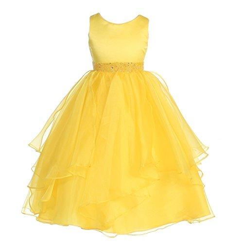 (Chic Baby Big Girls Yellow Beaded Waist Overlaid Junior Bridesmaid Dress 8)